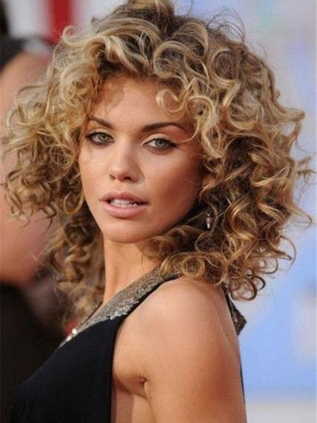 Natural Blonde Medium Curly Synthetic Hair Wig