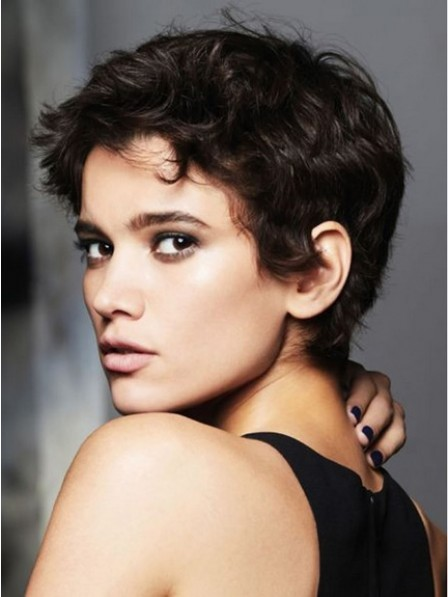 Natural Look Lace Front Pixie Cut Curly 100% Human Hair Wigs