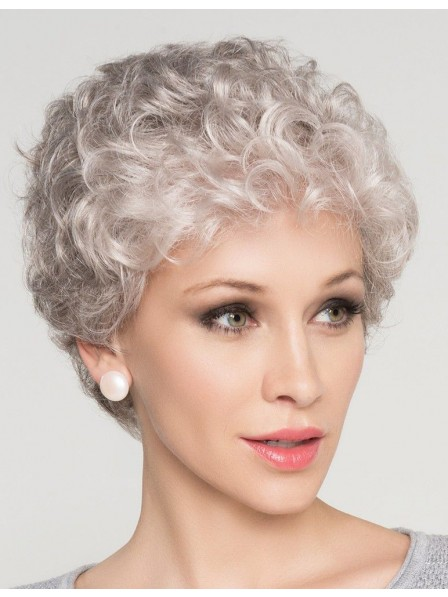 Natural Short Curly Grey Hair Wig For Older Women Rewigs Co Uk