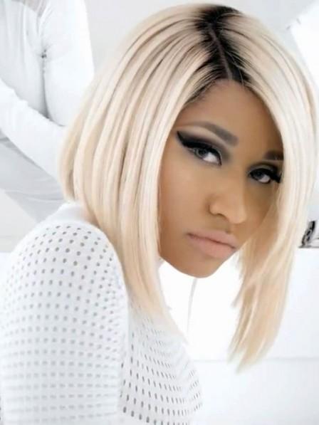 Nicki Minaj Blonde Bob Hair Wig with Black Roots