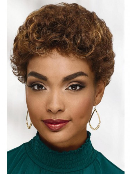 Noble short curly brown capless synthetic hair wig