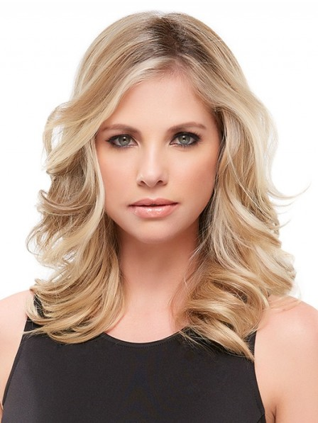 "16"" Wavy Blonde 100% Human Hair Mono Hair Pieces"