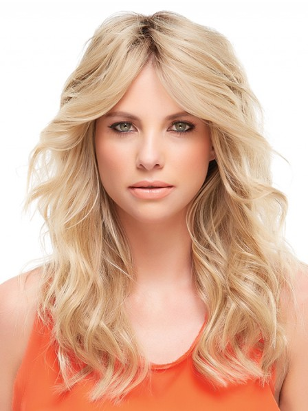 "18"" Wavy Blonde 100% Human Hair Mono Hair Pieces"