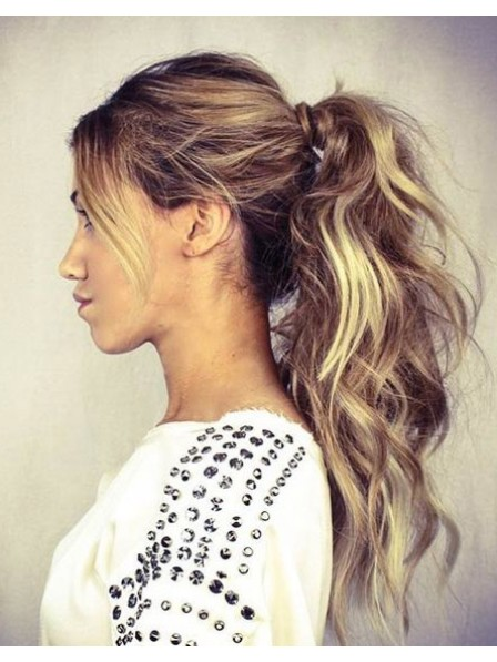 "20"" Wavy Blonde 100% Human Hair Pressure Clips Ponytails"