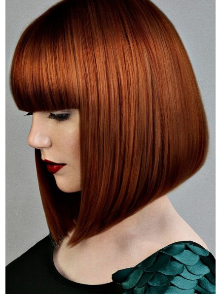Mid Length Bob Wigs With Full Bangs