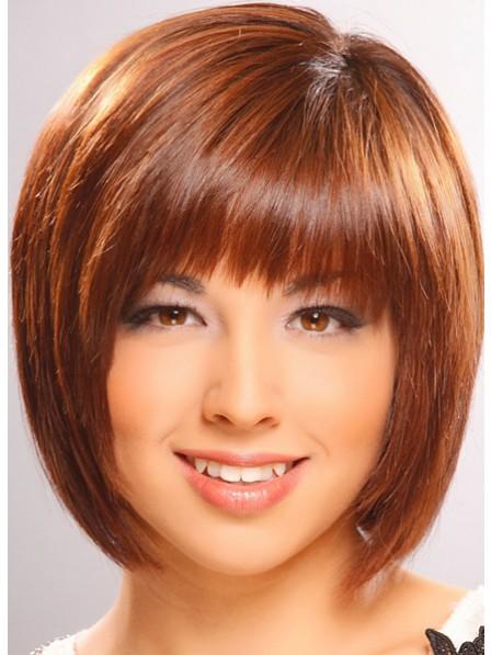 Bob Capless Women Hair Wig With Full Bangs