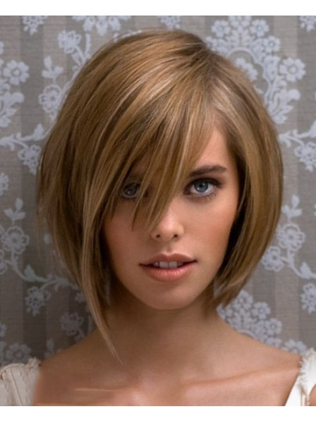 Lace Front Mono Top Straight Human Hair For Women Wig With Bangs