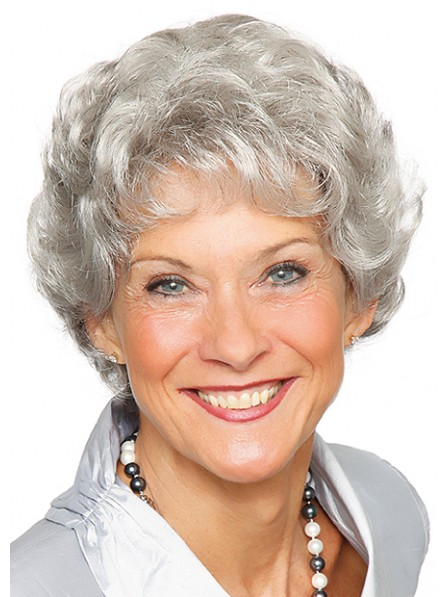 Grey Short Wavy Capless Synthetic Wig