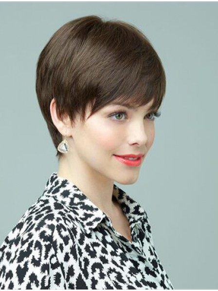 Cropped Straight Human Hair Wig With Bangs