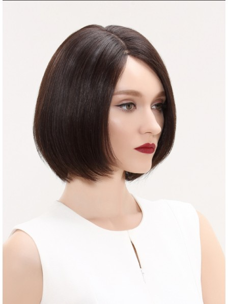 Chin Length Straight Women Lace Front Human Hair Wig