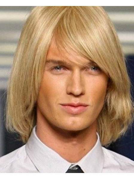 Shoulder Length Mens Synthetic Capless Wig With Side Bangs