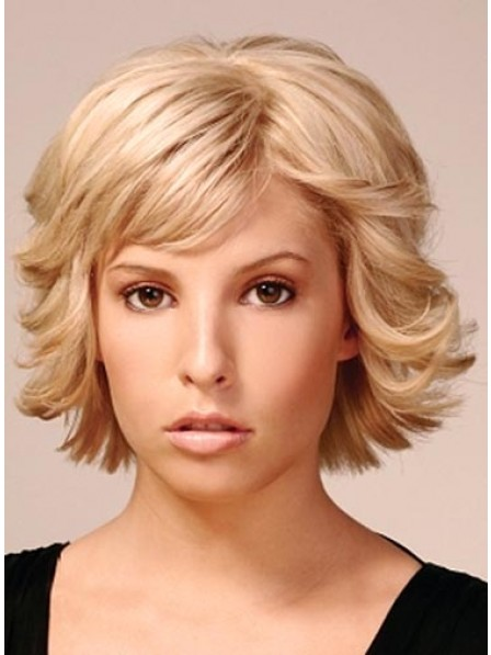 Synthetic Lace Front Wavy Wig With Bangs