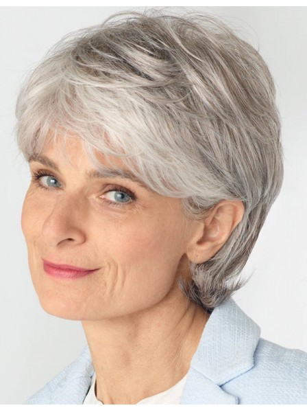 0f1b1d76b77629 Old Ladies Synthetic Grey Wig With Side Bangs - Rewigs.co.uk