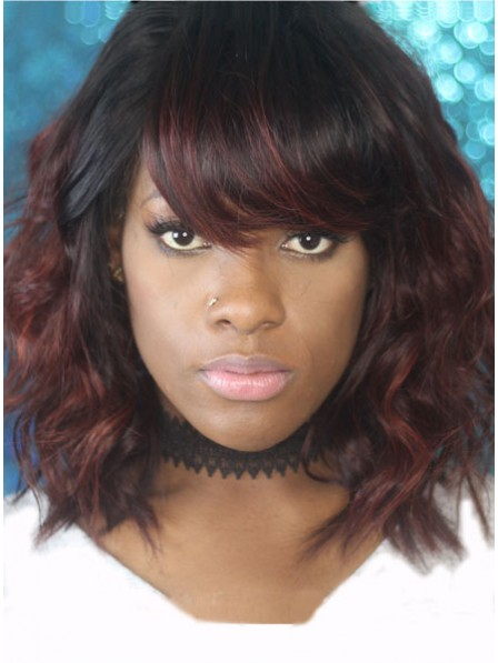 Ombre Messy Bob with Bangs Human Hair Lace Front Wig