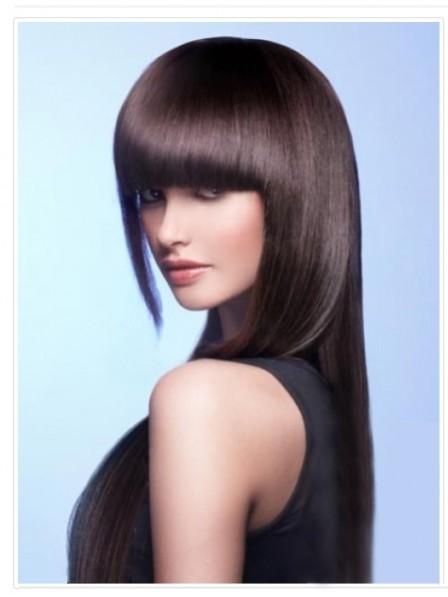 """6.5""""-9.5"""" Straight Brown 100% Human Hair Capless Bangs"""