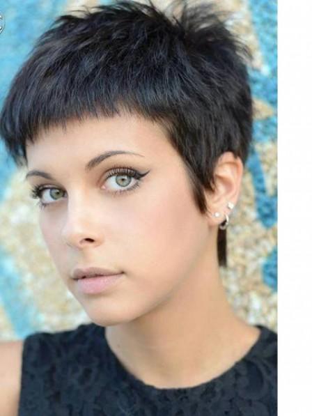 Pixie Cut Black 100% Human Hair Full Lace Wigs