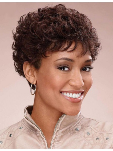Pixie short brown curly hairstyle human hair wigs