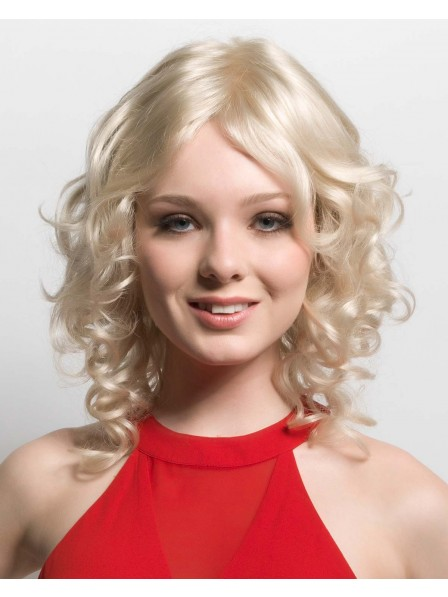Platinum Blonde Lace Front Monofilament Synthetic Curly Wigs