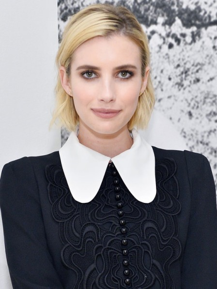 Popular Emma Roberts Blonde Medium Staight Synthetic Celebrity Wigs