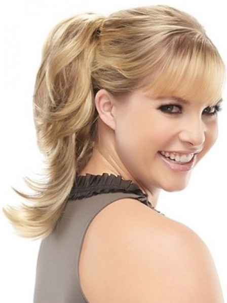 """12"""" Wavy Blonde Heat Friendly Synthetic Hair Claw Clip Ponytails"""