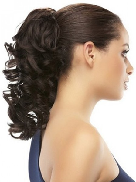 """18"""" Curly Black Heat Friendly Synthetic Hair Pressure Clips Ponytails"""