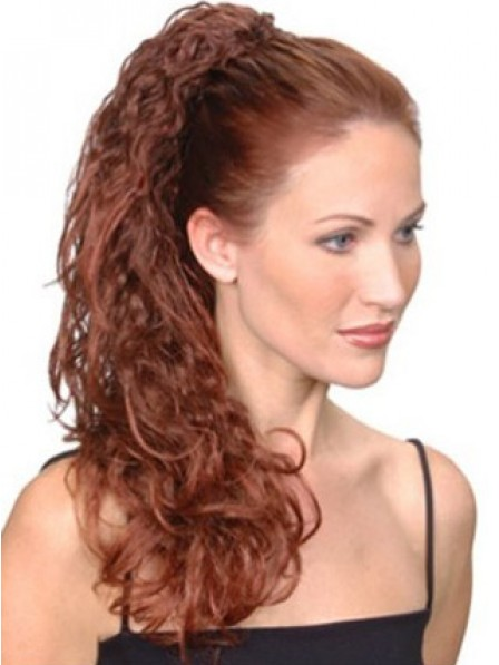 """20"""" Curly Red Heat Friendly Synthetic Hair Claw Clip Ponytails"""