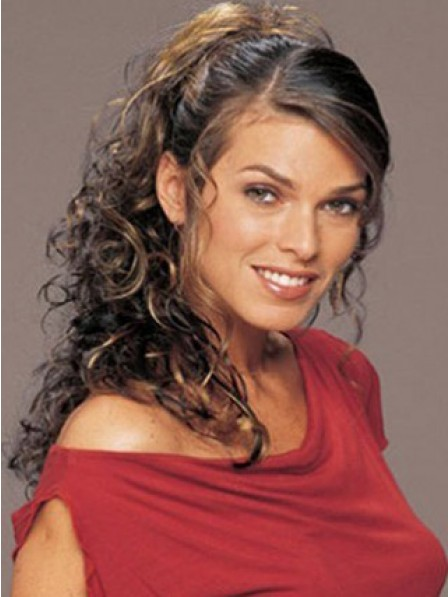 """20"""" Curly Black Heat Friendly Synthetic Hair Claw Clip Ponytails"""