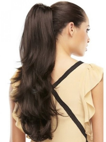 """22"""" Wavy Black Synthetic Hair Claw Clip Ponytails"""
