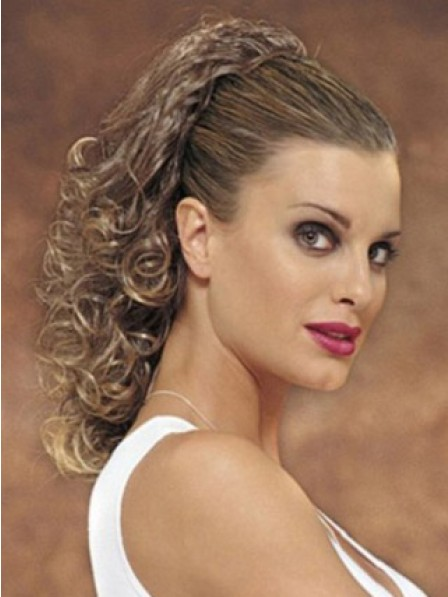 """18"""" Curly Brown Heat Friendly Synthetic Hair Claw Clip Ponytails"""