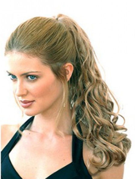 """20"""" Curly Brown Heat Friendly Synthetic Hair Pressure Clips Ponytails"""