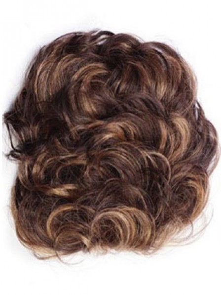 "4"" Curly Brown 100% Human Hair Hair Pieces"