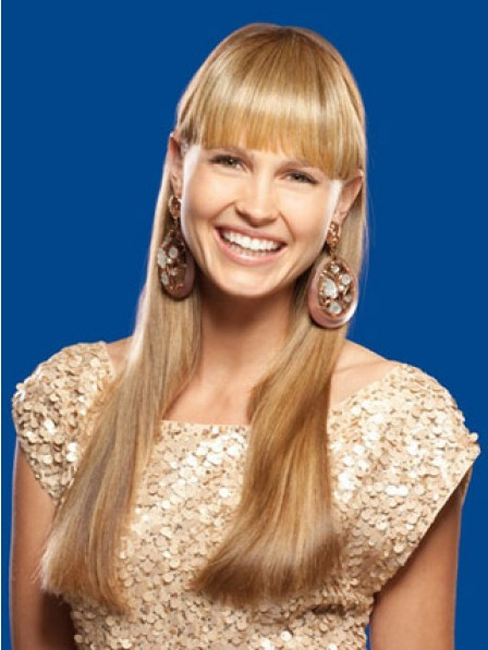 """6"""" Straight Blonde Heat Friendly Synthetic Hair Capless Bangs"""