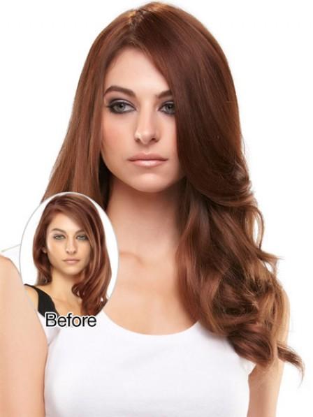 """18"""" Wavy Auburn 100% Human Hair Mono Hair Pieces"""