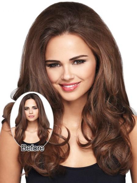 """18"""" Wavy Brown Human Hair Hair Pieces"""