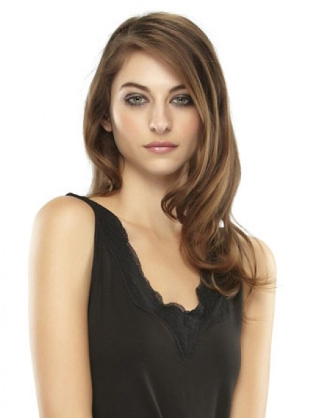"""16"""" Wavy Brown Heat Friendly Synthetic Hair Mono Hair Pieces"""