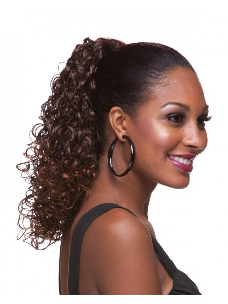 """16"""" Curly Brown Heat Friendly Synthetic Hair Pressure Clips Ponytails"""