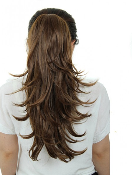 """22"""" Wavy Brown Heat Friendly Synthetic Hair Claw Clip Ponytails"""