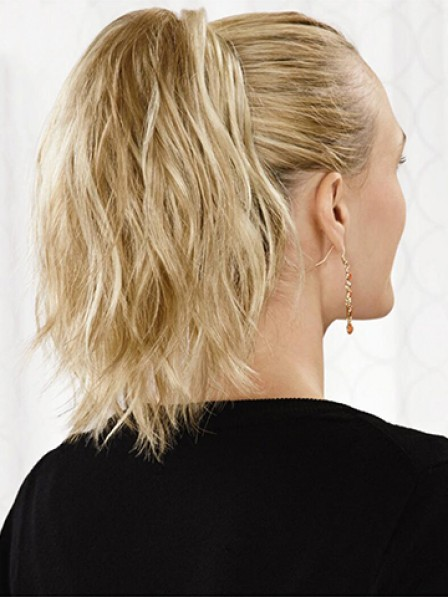 """10"""" Wavy Blonde Heat Friendly Synthetic Hair Claw Clip Ponytails"""