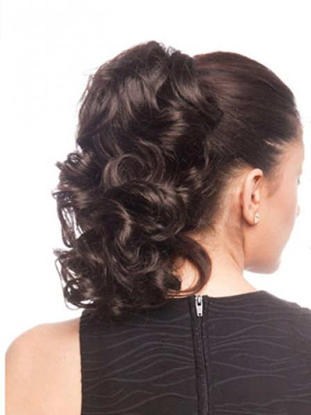 "16"" Curly Black Heat Friendly Synthetic Hair Claw Clip Ponytails"