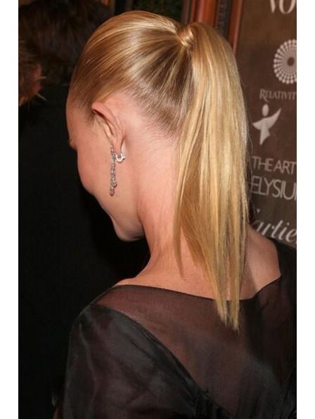"16"" Straight Blonde 100% Human Hair Pressure Clips Ponytails"