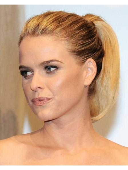 "12"" Straight Blonde 100% Human Hair Pressure Clips Ponytails"