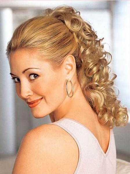 """18"""" Curly Blonde Heat Friendly Synthetic Hair Claw Clip Ponytails"""