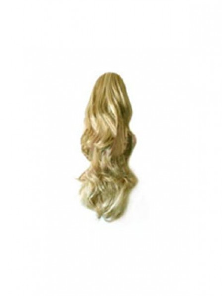 """14"""" Wavy Blonde Heat Friendly Synthetic Hair Claw Clip Ponytails"""