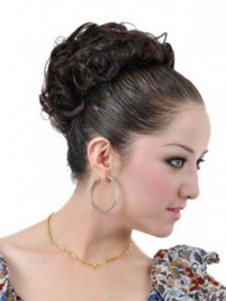 """3.5"""" Curly Black Heat Friendly Synthetic Hair Clip In Hair Wraps"""
