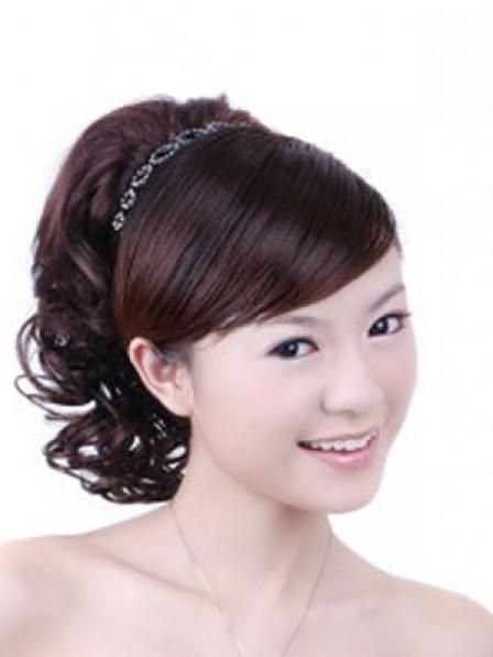 "12"" Wavy Auburn Heat Friendly Synthetic Hair Claw Clip Ponytails"