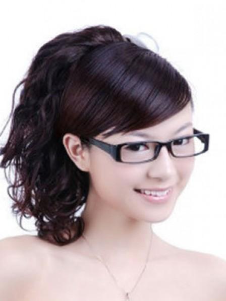 "14"" Wavy Auburn Heat Friendly Synthetic Hair Claw Clip Ponytails"
