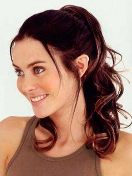 "18"" Wavy Auburn Heat Friendly Synthetic Hair Claw Clip Ponytails"