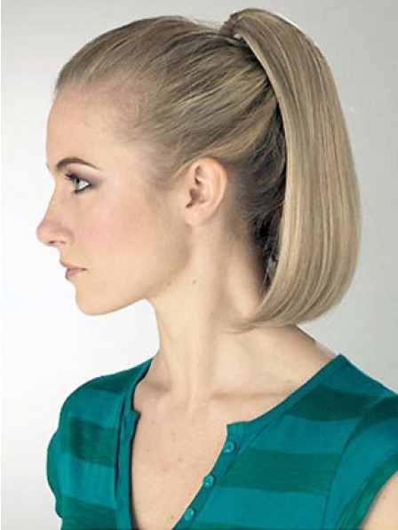 """12"""" Straight Blonde Heat Friendly Synthetic Hair Pressure Clips Ponytails"""