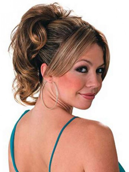 """10"""" Wavy Brown Heat Friendly Synthetic Hair Claw Clip Ponytails"""