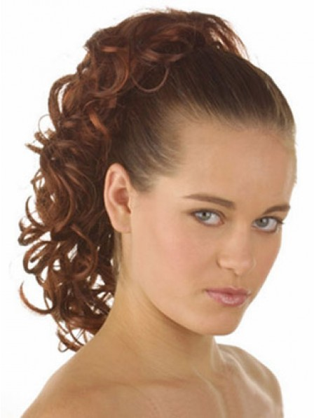 """14"""" Curly Auburn Heat Friendly Synthetic Hair Claw Clip Ponytails"""